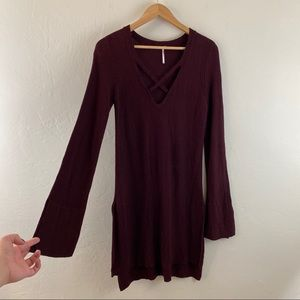 Free People Maroon Red Tunic Ribbed Knit Sweater
